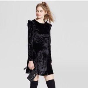 NWOT Crushed Velvet Ruffle Dress